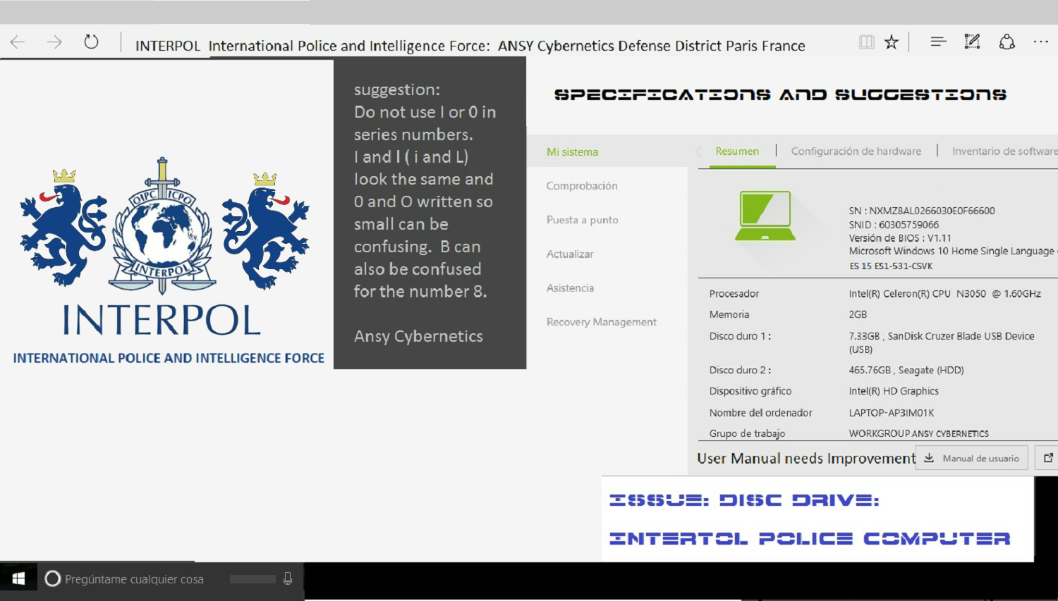 Ans cybernetics le sige interpol international police and ansy cybnernetics specifications and suggestions biocorpaavc Choice Image